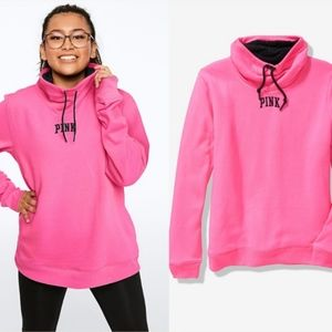 *NWT* VS xS pink Cowl neck SHERPA LINED PULLOVER